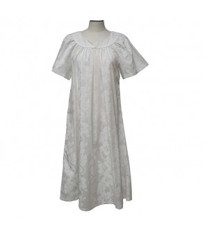 Hawaiian Cotton Muumuu Midi Dress [ Hibiscus 213 ] White