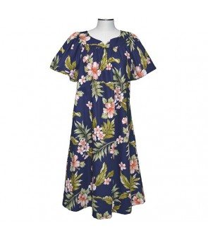 Hawaiian Cotton Muumuu Midi Dress [ Fancy Hibiscus ] Navy Coral
