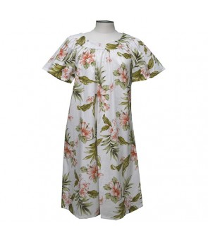 Hawaiian Cotton Muumuu Midi Dress [ Fancy Hibiscus ] White Coral