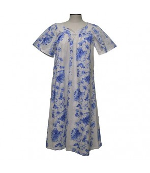 Hawaiian Cotton Muumuu Midi Dress [ Hibiscus Front Panel ] White Navy Blue