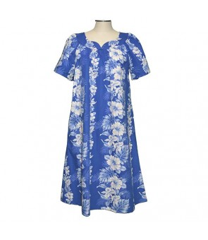 Hawaiian Cotton Muumuu Midi Dress [ Hibiscus Front Panel ] Navy Blue