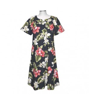 Hawaiian Cotton Muumuu Midi Dress [ Orchid Hibiscus ] Black