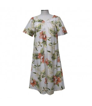 Hawaiian Cotton Muumuu Midi Dress [ Orchid Hibiscus ] White
