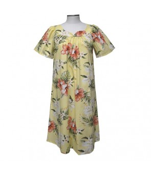 Hawaiian Cotton Muumuu Midi Dress [ Orchid Hibiscus ] Yellow