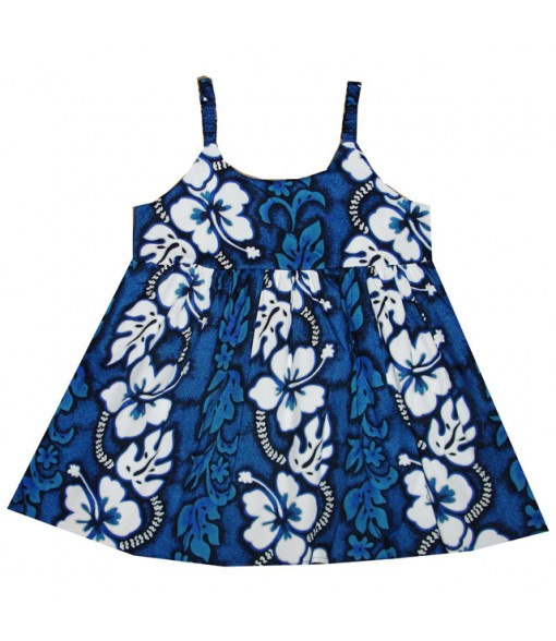 Hawaiian Cotton Girls Bungy Dress [ Hibiscus 213 ] Navy Blue