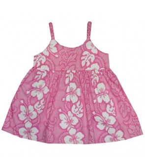 Hawaiian Cotton Girls Bungy Dress [ Hibiscus 213 ] Pink
