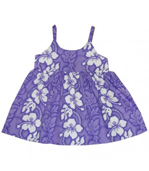 Hawaiian Cotton Girls Bungy Dress [ Hibiscus 213 ] Purple