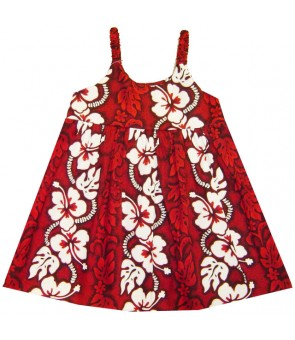 Hawaiian Cotton Girls Bungy Dress [ Hibiscus 213 ] Red