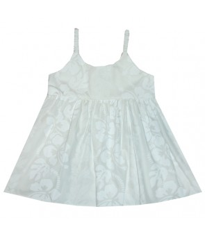 Hawaiian Cotton Girls Bungy Dress [ Hibiscus 213 ] White