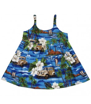 Hawaiian Cotton Girls Bungy Dress [ Journey Woody ] Navy