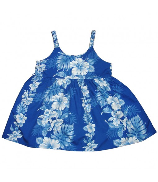 Hawaiian Cotton Girls Bungy Dress [ Hibiscus Front Panel ] Navy Blue