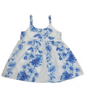 Hawaiian Cotton Girls Bungy Dress [ Hibiscus Front Panel ] White Navy Blue