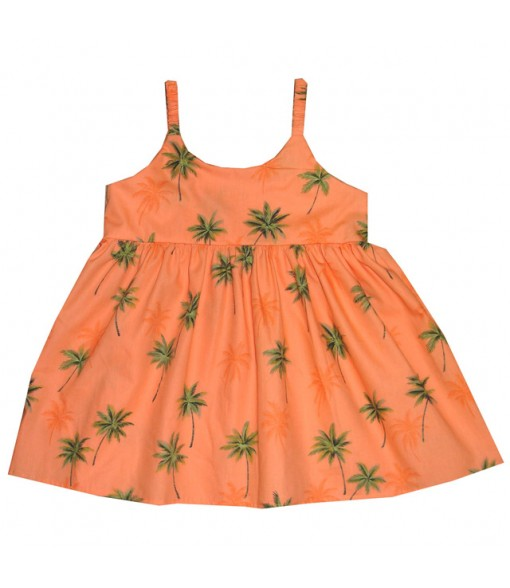 Hawaiian Cotton Girls Bungy Dress [ Palm Tree ] Orange
