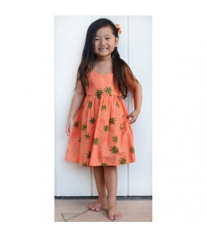 Hawaiian Cotton Girls Bungy Dress [ Palm Tree ] White