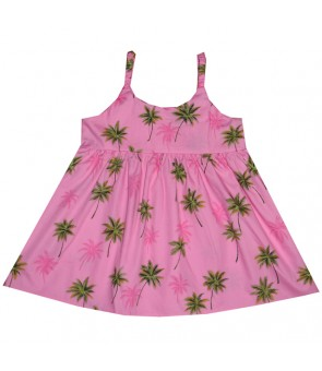 Hawaiian Cotton Girls Bungy Dress [ Palm Tree ] Pink
