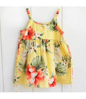 Hawaiian Cotton Girls Bungy Dress [ Orchid Hibiscus ] Yellow
