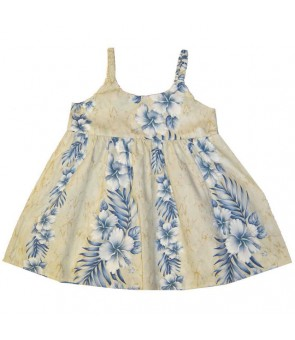 Hawaiian Cotton Girls Bungy Dress [ Trend Hibiscus ] Cream