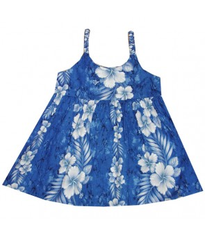Hawaiian Cotton Girls Bungy Dress [ Trend Hibiscus ] Navy Blue