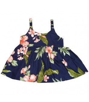 Hawaiian Cotton Girls Bungy Dress [ Fancy Hibiscus ] Navy Coral