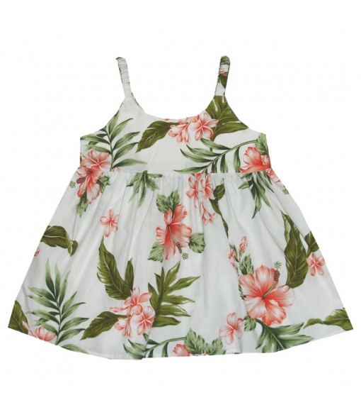 Hawaiian Cotton Girls Bungy Dress [ Fancy Hibiscus ] White Coral