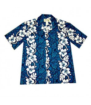 Hawaiian Cotton Aloha Shirt [ Hibiscus 213 ] Navy Blue