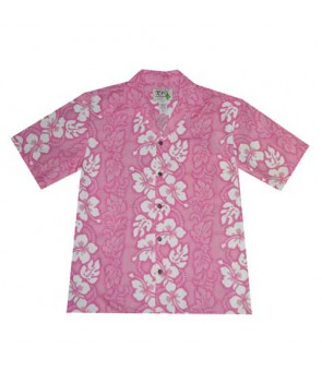 Hawaiian Cotton Aloha Shirt [ Hibiscus 213 ] Pink