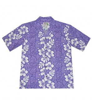 Hawaiian Cotton Aloha Shirt [ Hibiscus 213 ] Purple