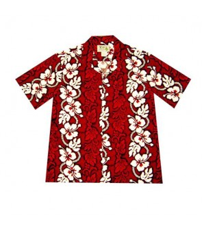 Hawaiian Cotton Aloha Shirt [ Hibiscus 213 ] Red