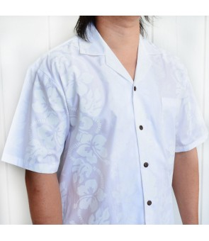 Hawaiian Cotton Aloha Shirt [ Hibiscus 213 ] White
