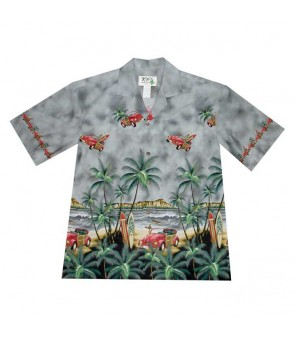 Hawaiian Cotton Aloha Shirt [ Diamond Head / Surf Car ] Grey