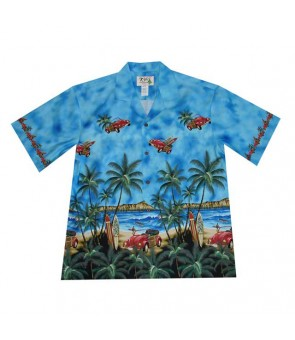 Hawaiian Cotton Aloha Shirt [ Diamond Head / Surf Car ] Navy Blue