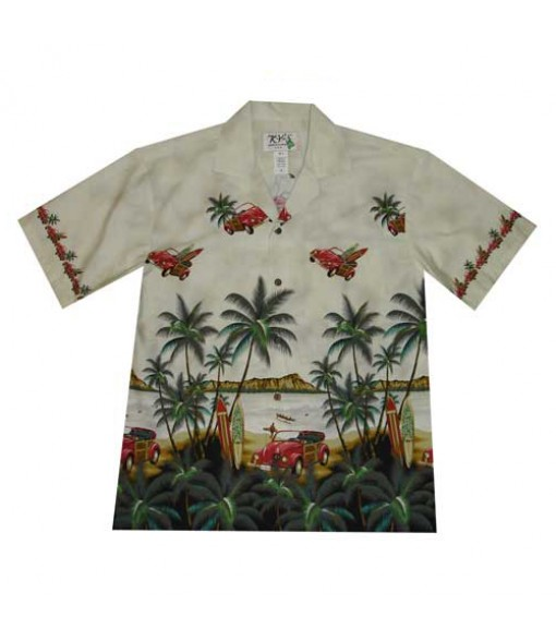 Hawaiian Cotton Aloha Shirt [ Diamond Head / Surf Car ] White