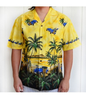 Hawaiian Cotton Aloha Shirt [ Diamond Head / Surf Car ] Yellow