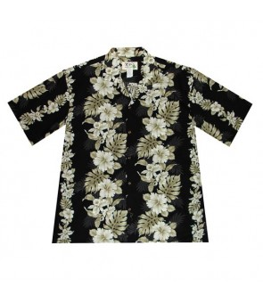 Hawaiian Cotton Aloha Shirt [ Hibiscus Front Panel ] Black