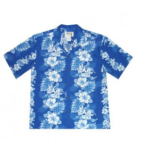 Hawaiian Cotton Boys Aloha Shirt [ Hibiscus Front Panel ] Navy Blue