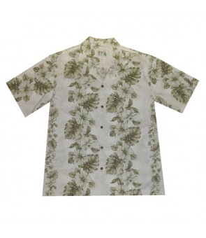 Hawaiian Cotton Aloha Shirt [ Hibiscus Front Panel ] White