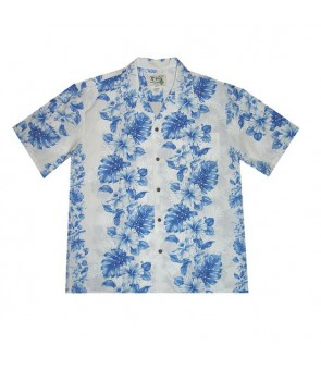 Hawaiian Cotton Boys Aloha Shirt [ Hibiscus Front Panel ] White Navy Blue