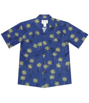 Hawaiian Cotton Aloha Shirt [ Palm Tree ] Navy