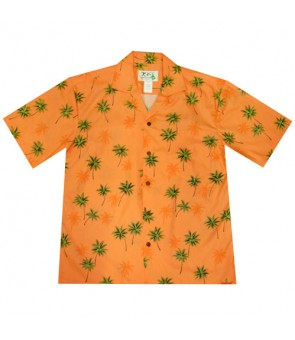 Hawaiian Cotton Aloha Shirt [ Palm Tree ] Orange