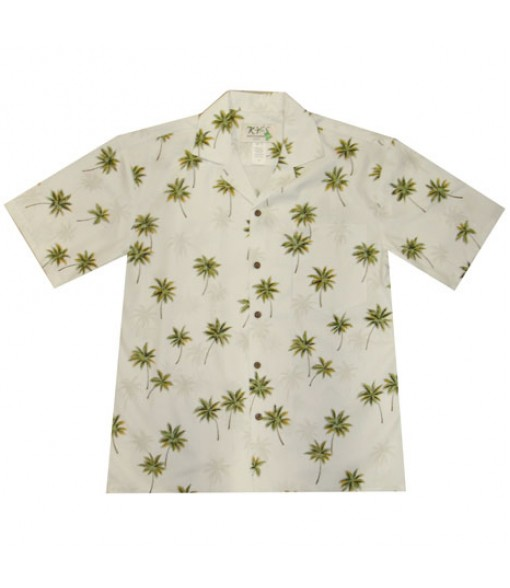 Hawaiian Cotton Aloha Shirt [ Palm Tree ] White