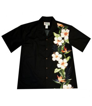 Hawaiian Cotton Aloha Shirt [ Bird of Hibiscus Panel ] Black