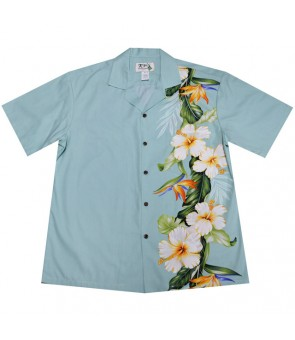 Hawaiian Cotton Aloha Shirt [ Bird of Hibiscus Panel ] Sky Blue