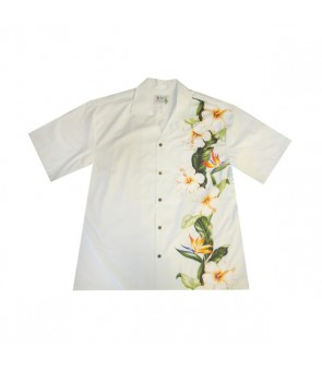 Hawaiian Cotton Aloha Shirt [ Bird of Hibiscus Panel ] White
