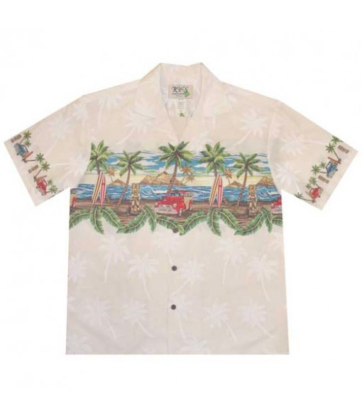 "Hawaiian Cotton Aloha Shirt [ Tiki Woody 12"" ] White"
