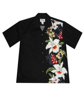 Hawaiian Cotton Aloha Shirt [ Orchid Panel ] Black