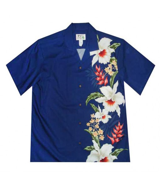 Hawaiian Cotton Aloha Shirt [ Orchid Panel ] Navy