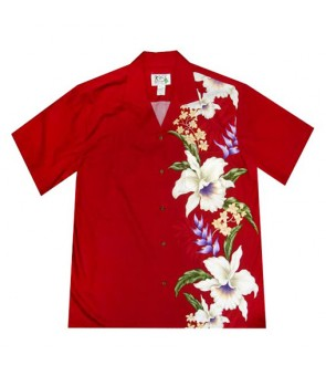 Hawaiian Cotton Aloha Shirt [ Orchid Panel ] Red