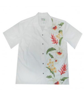 Hawaiian Cotton Aloha Shirt [ Orchid Panel ] White