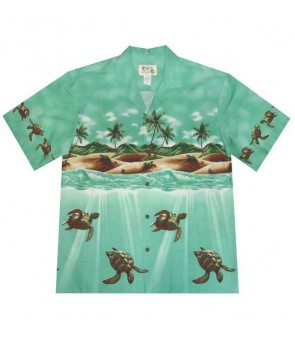 Hawaiian Cotton Aloha Shirt [ Turtle Ocean] Green