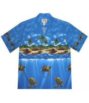 Hawaiian Cotton Aloha Shirt [ Turtle Ocean] Navy Blue